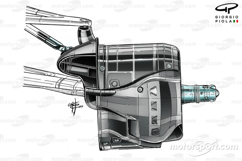 Воздухозаборник передних тормозов Mercedes F1 W10