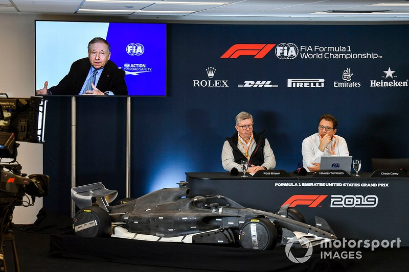 The 2021 Formula 1 technical regulations are unveiled in a press conference, Jean Todt, President, FIA, Ross Brawn, Managing Director of Motorsports, FOM, and Nikolas Tombazis