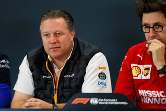 Zak Brown, Executive Director, McLaren, and Mattia Binotto, Team Principal Ferrari