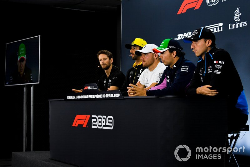 Romain Grosjean, Haas F1, Daniel Ricciardo, Renault F1 Team, Valtteri Bottas, Mercedes AMG F1, Sergio Perez, Racing Point and Robert Kubica, Williams Racing In the Press Conference
