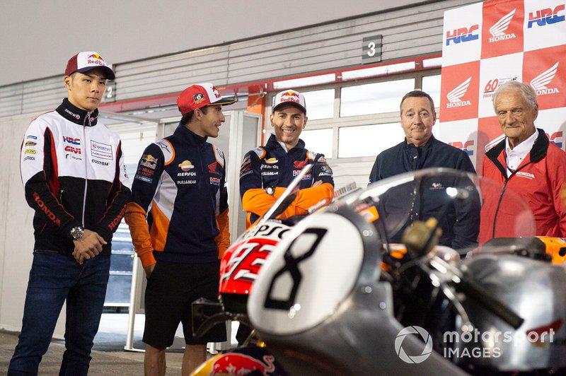 Takaaki Nakagami, Team LCR Honda, Marc Marquez, Repsol Honda Team, Jorge Lorenzo, Repsol Honda Team, Kunimitsu Takahashi, Jim Redman