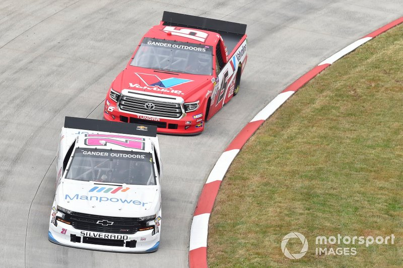 Sam Mayer, GMS Racing, Chevrolet Silverado Manpower, Tanner Gray, DGR-Crosley, Toyota Tundra Valvoline / Durst