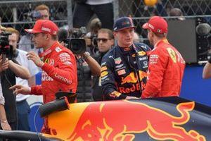 Charles Leclerc, Ferrari, pole man Max Verstappen, Red Bull Racing, and Sebastian Vettel, Ferrari, after Qualifying