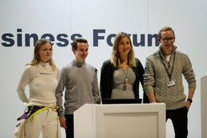 Sarah Moore, Richard Morris, Charlie Martin and Christopher Sharp after finishing their talk about Racing Pride at the Business Forum