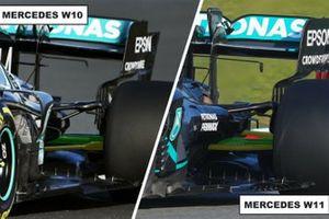 Comparaison de l'arrière des Mercedes AMG F1 W11 & W10