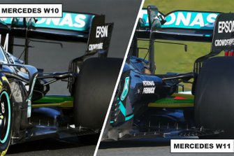 Mercedes AMG F1 W11 & W10 comparsion rear
