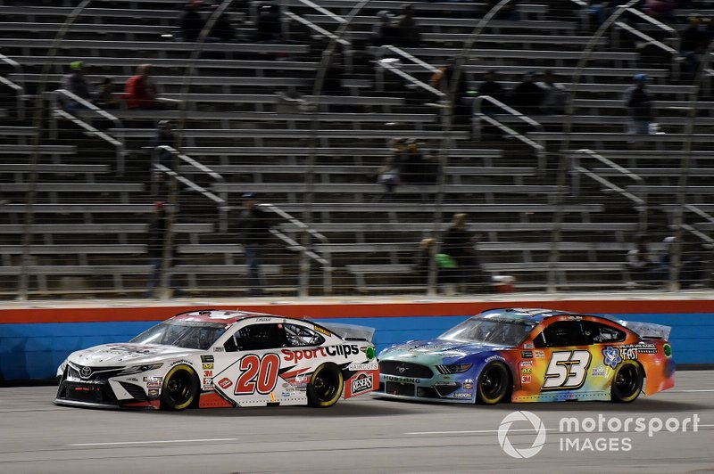 Erik Jones, Joe Gibbs Racing, Toyota Camry Sport Clips, J.J. Yeley, Rick Ware Racing, Ford Mustang Factor One Source Pharmacy