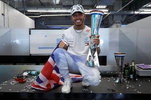 Lewis Hamilton, Mercedes AMG F1, celebrates winning the world championship