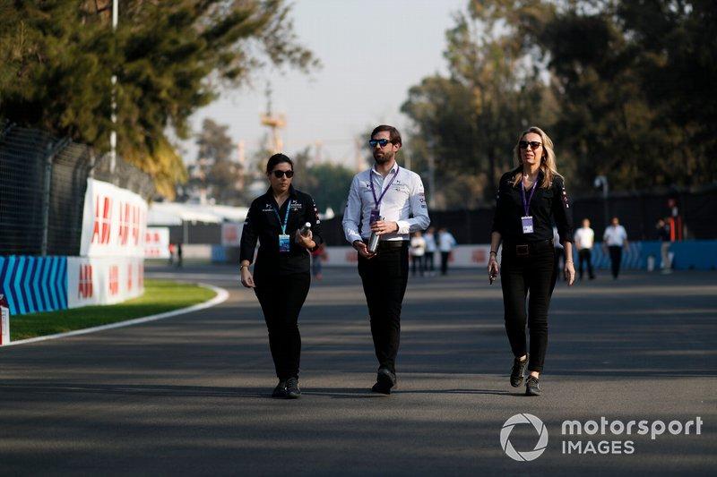 Members of the DS Techeetah team walk the track