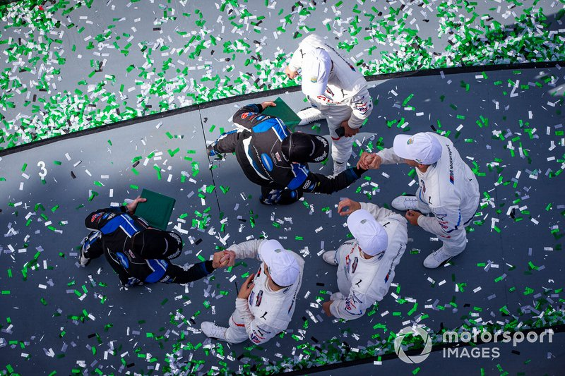 #10 Wayne Taylor Racing Cadillac DPi: Renger Van Der Zande, Ryan Briscoe, Scott Dixon, #24 BMW Team RLL BMW M8 GTE: Jesse Krohn, John Edwards, Augusto Farfus, Chaz Mostert celebrate the victory