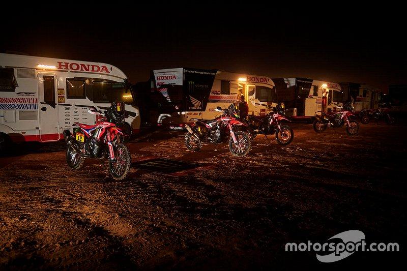 Monster Energy Honda Team team area by night