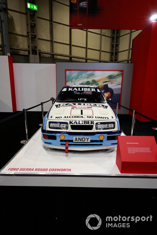 Andy Rouse Ford Sierra RS500 on the Autosport stand