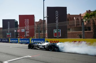 Jake Hughes, Rookie Test Driver for Mercedes Benz EQ, EQ Silver Arrow 01 does a burn out