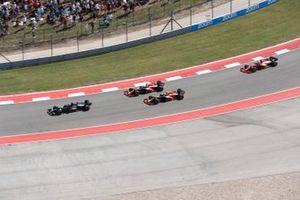 Lewis Hamilton, Mercedes W12, Max Verstappen, Red Bull Racing RB16B, Sergio Perez, Red Bull Racing RB16B, and Charles Leclerc, Ferrari SF21