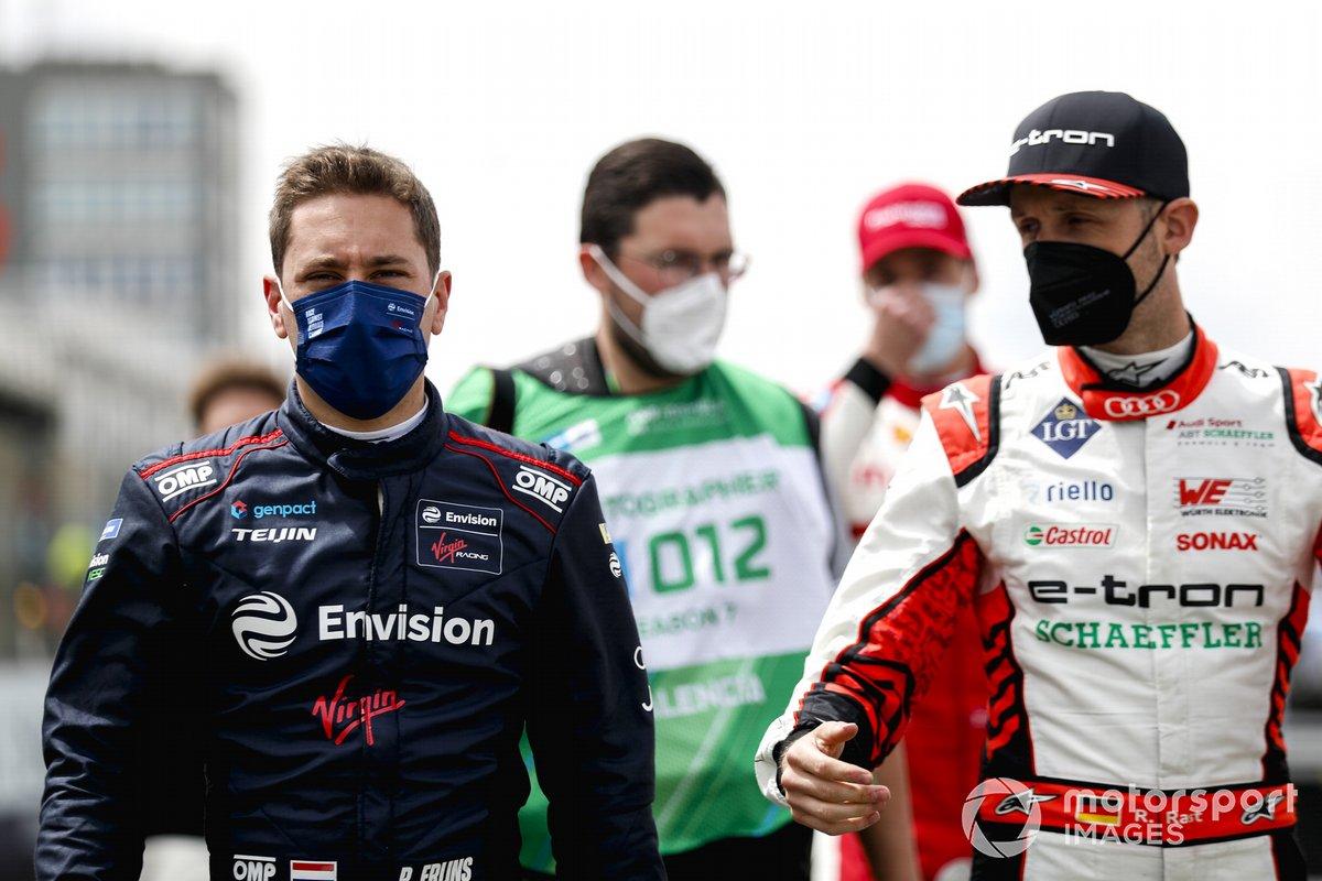 Robin Frijns, Envision Virgin Racing, Rene Rast, Audi Sport ABT Schaeffler, en la parrilla