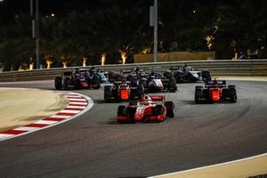 Mick Schumacher, Prema Racing, leads Felipe Drugovich, MP Motorsport, Giuliano Alesi, MP Motorsport, Louis Deletraz, Charouz Racing System, and Nikita Mazepin, Hitech Grand Prix