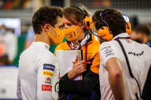 Lando Norris, McLaren, on the grid with engineers