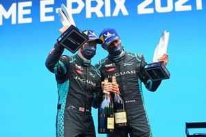 Sam Bird, Jaguar Racing, Mitch Evans, Jaguar Racing, on the podium