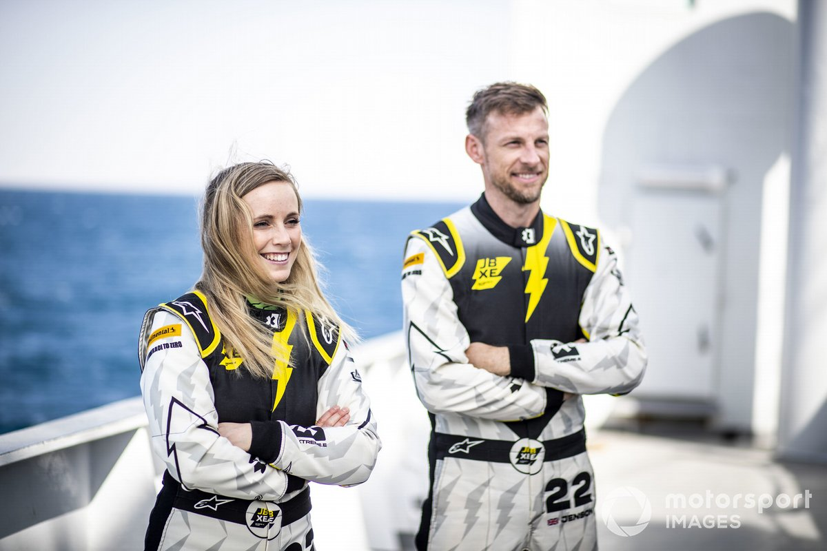 Mikaela Ahlin-Kottulinsky, JBXE Extreme-E Team y Jenson Button, JBXE Extreme-E Team