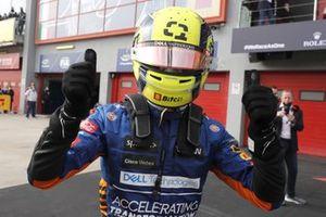 Lando Norris, McLaren MCL35M, 3rd position, celebrates in Parc Ferme