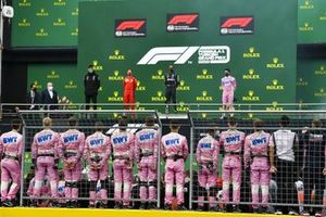 Toto Wolff, Executive Director (Business), Mercedes AMG, Sebastian Vettel, Ferrari, 3rd position, Lewis Hamilton, Mercedes-AMG F1, 1st position, and Sergio Perez, Racing Point, 2nd position, on the podium