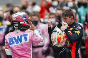 Max Verstappen, Red Bull Racing, Sergio Perez, Racing Point, 2nd position, in Parc Ferme