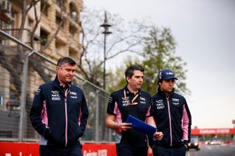 Lance Stroll, Racing Point walks the track with his engineers