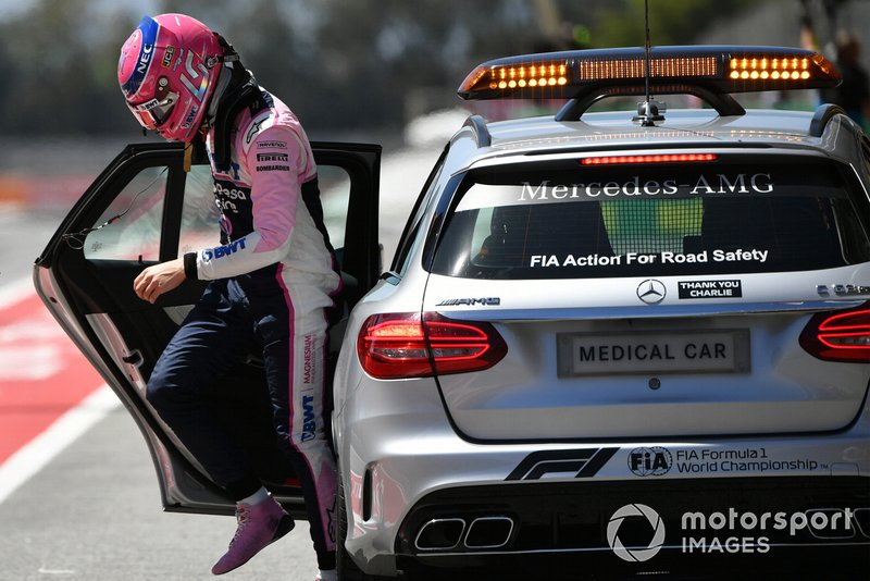 Lance Stroll, Racing Point, is dropped off by the medical car