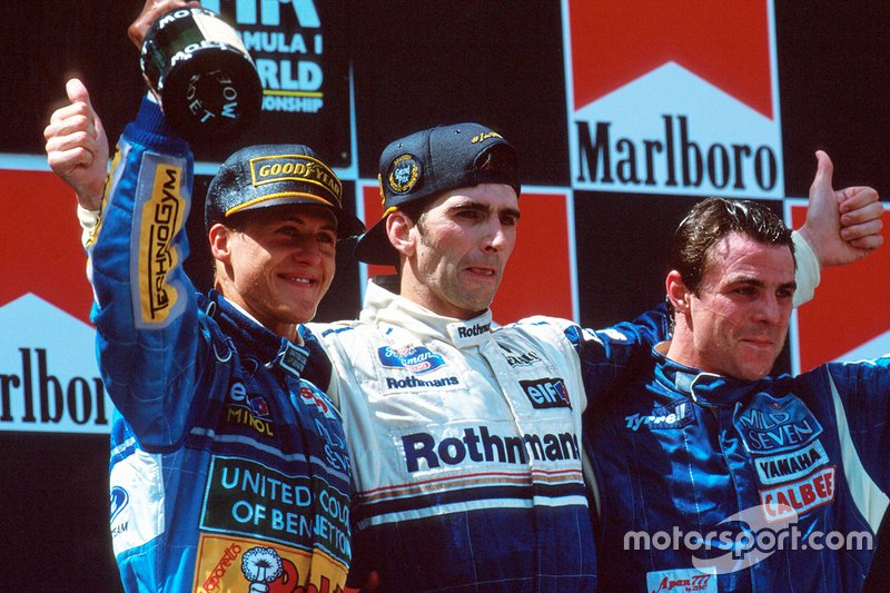 Podio: ganador Damon Hill, Williams; segundo Michael Schumacher, Benetton; tercero Mark Blundell, Tyrrell