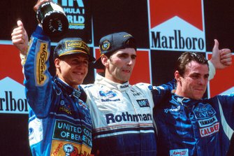 Damon Hill, Williams; Michael Schumacher, Benetton; Mark Blundell, Tyrrell