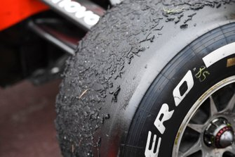 Worn tyres on the car of Sebastian Vettel, Ferrari SF90, after the race
