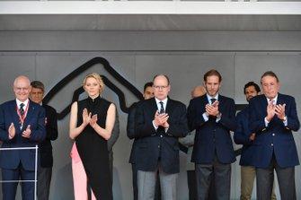 Princess Charlene and Prince Albert II of Monaco on the podium
