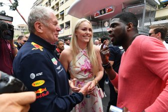 Ice Hockey player P.K. Subban on the grid with his partner Lyndsey Vonn and Helmut Marko, Consultant, Red Bull Racing