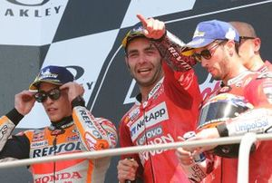 Podium: race winner Danilo Petrucci, Ducati Team, second place Marc Marquez, Repsol Honda Team, third place Andrea Dovizioso, Ducati Team