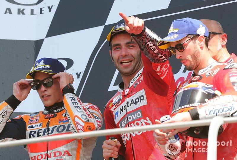 Podio: Danilo Petrucci, Ducati Team, Marc Marquez, Repsol Honda Team, Andrea Dovizioso, Ducati Team