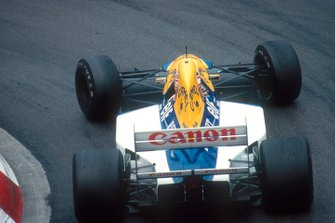 Nigel Mansell, Williams FW14B Renault, at Loews Hairpin