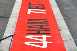 Markings for Lewis Hamilton, Mercedes AMG F1, and Valtteri Bottas, Mercedes AMG F1, on the pit lane floor