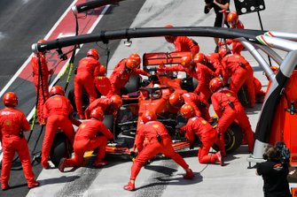 Sebastian Vettel, Ferrari SF90, makes a stop