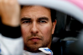 Sergio Perez, Racing Point sits in his cockpit