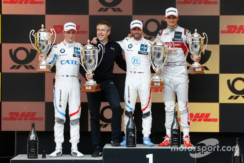 Podium: Race winner Philipp Eng, BMW Team RBM, second place Joel Eriksson, BMW Team RBM, third place Nico Müller, Audi Sport Team Abt Sportsline, Bart Mampaey, team principal, BMW Team RBM