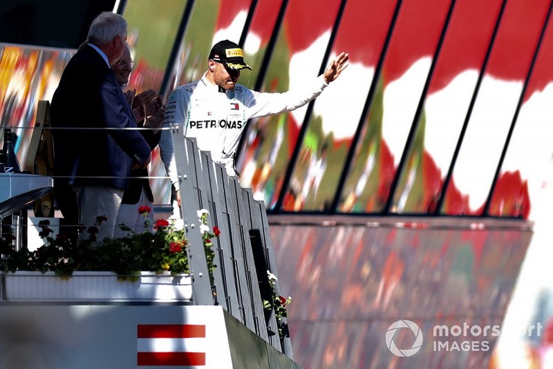 Valtteri Bottas, Mercedes AMG F1, 3rd position, arrives on the podium