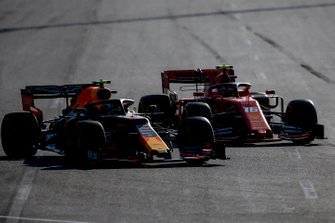 Charles Leclerc, Ferrari SF90 overtakes Pierre Gasly, Red Bull Racing RB15