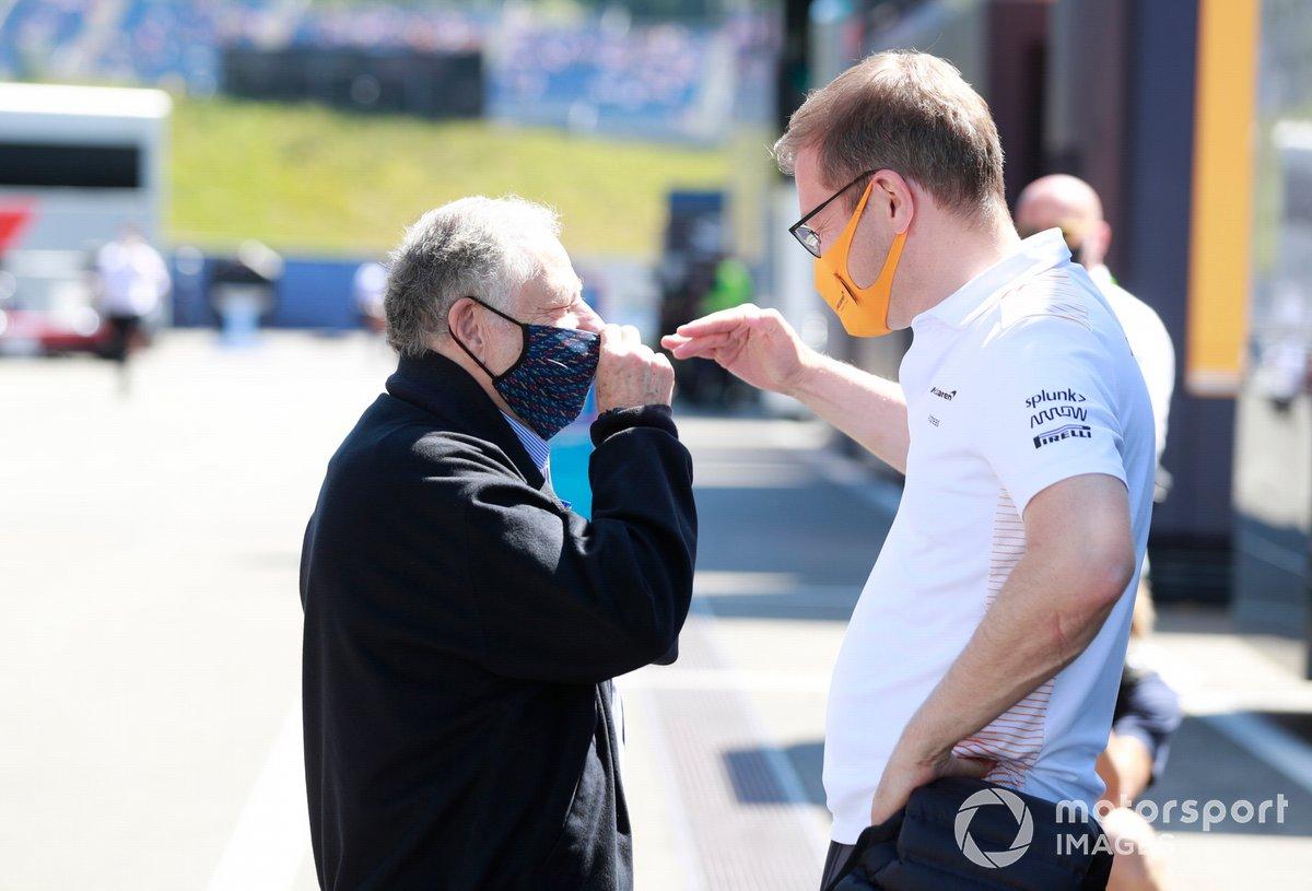El presidente de la FIA Jean Todt, y el director de McLaren Andreas Seidl