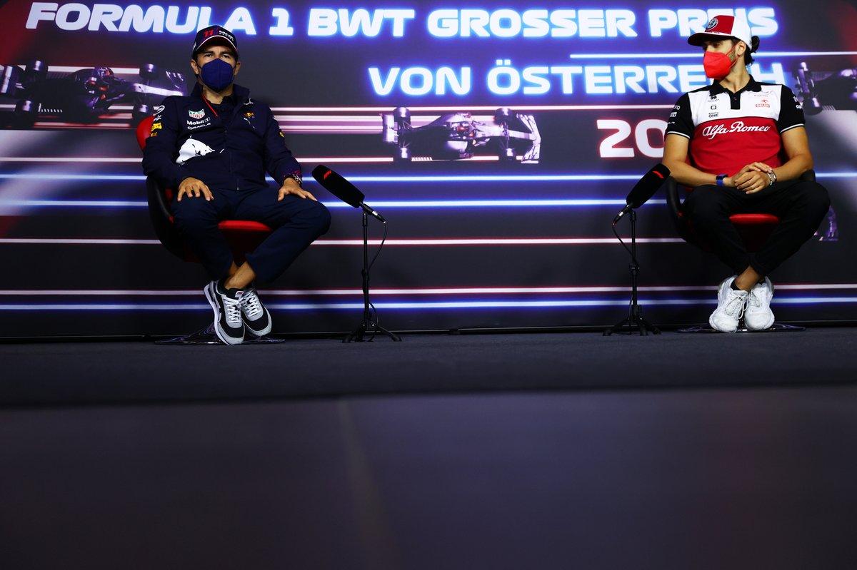 Sergio Pérez, Red Bull Racing, Antonio Giovinazzi, Alfa Romeo Racing during the press conference