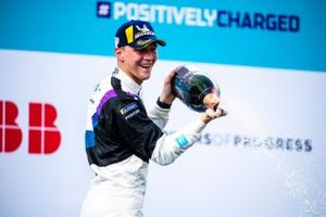 Maximilian Guenther, BMW I Andretti Motorsport, first position, sprays Champagne on the podium