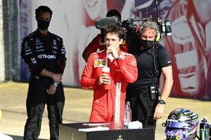Charles Leclerc, Ferrari, 2nd position, in Parc Ferme