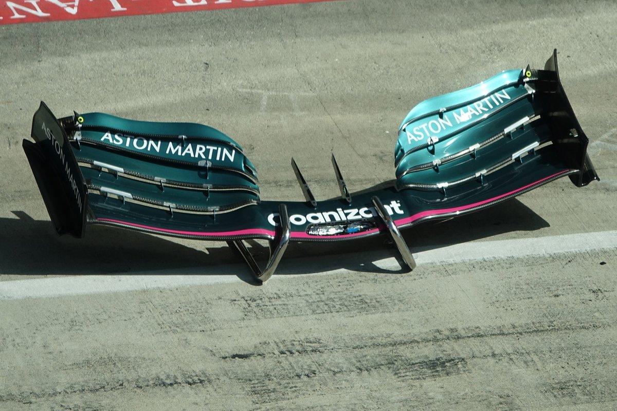 Detalle del alerón delantero del Aston Martin AMR21