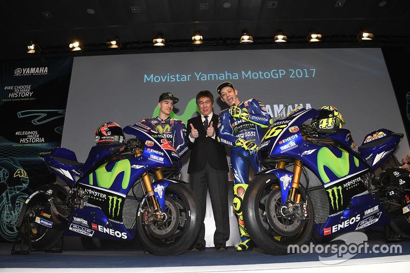 Valentino Rossi, Yamaha Factory Racing, Maverick Viñales, Yamaha Factory Racing, Kouichi Tsuji, presidente de Yamaha Factory Racing