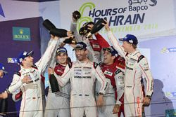 LMP1 Podium: second place #7 Audi Sport Team Joest Audi R18: Marcel Fässler, Andre Lotterer, Benoit