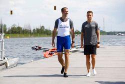 Matt Morris, Engineering Director, McLaren, Stoffel Vandoorne, McLaren, prepare to go rowing